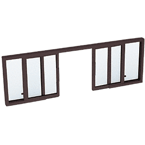 "CRL SW3800DU Duranodic Bronze Horizontal Sliding Service Window OXXO Format with 1/2"" Vinyl Only for I.G. No Screen"