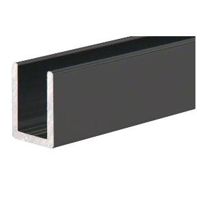 """CRL SDCD3812MBL Matte Black Frameless Shower Door Aluminum Deep U-Channel for 3/8"""" Thick Glass - 144"""" Stock Length"""