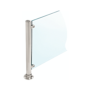 """CRL PP58CBS Brushed Stainless 24"""" High 1"""" Round Slimline Series Straight Front Counter/Partition Center Post"""