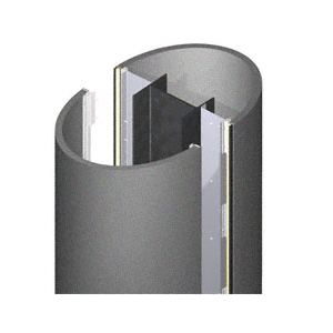 CRL PCE45CMP Custom Mica Platinum Premier Series Elliptical Column Covers Four Panels Staggered