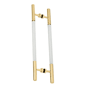 """CRL CA18X18BR Polished Brass 24-1/2"""" Overall Length Glass Mounted Ladder Style Pull Handle with Acrylic Semi-Inserts"""