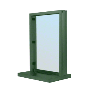 "CRL N11W18K KYNAR Painted (Specify) Aluminum Narrow Inset Frame Interior Glazed Exchange Window with 18"" Shelf and Deal Tray"
