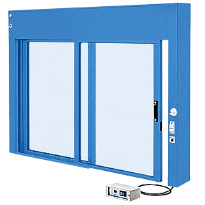 CRL EDW1801K KYNAR Painted (Specify) Custom Size All Electric Fully Automatic Deluxe Sliding Service Window XO or OX With Aluminum Half Bottom Track