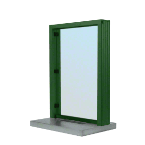 "CRL S11W18K KYNAR Painted (Specify) Aluminum Standard Inset Frame Interior Glazed Exchange Window with 18"" Shelf and Deal Tray"