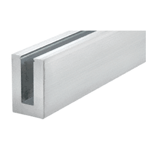 """CRL L56S10 Mill Aluminum 10' L56S Series Standard Square Base Shoe Undrilled for 9/16"""" Laminated Tempered Glass"""