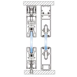 CRL 0TS202BL Black Powder Coated 4-Panel OXXO Bi-Part Overhead Double Track Sliding Door System
