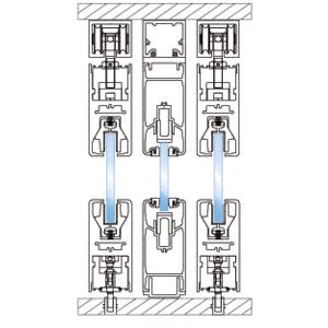 CRL 0TS203SA Satin Anodized 3-Panel XOX Bypass Overhead Double Track Sliding Door System