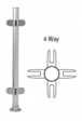 """CRL PP49XBS Brushed Stainless 18"""" x 1"""" PP49 Slimline Series Round Partition 4-Way Post"""