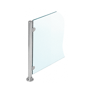 """Brushed Stainless 18"""" x 1"""" PP49 Slimline Series Round Partition 4-Way Post"""
