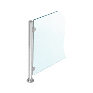 """Polished Stainless 18"""" x 1"""" PP49 Slimline Series Round Partition Corner Post"""