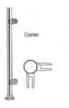 """CRL PP49LPS Polished Stainless 18"""" x 1"""" PP49 Slimline Series Round Partition Corner Post"""