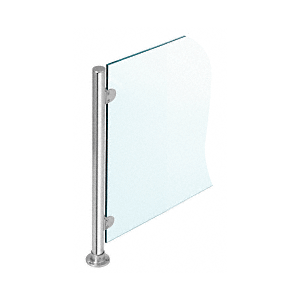 """Polished Stainless 18"""" x 1"""" PP49 Slimline Series Round Partition End Post"""