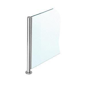 "Polished Stainless 18"" x 1"" SBPP08 Slimline Series Round Corner Partition Post"