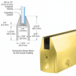 CRL 150PBCL Polished Brass CR150 Series Tapered Door Rail Custom Length With Lock