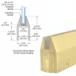 CRL 150SBCL Satin Brass CR150 Series Tapered Door Rail Custom Length With Lock