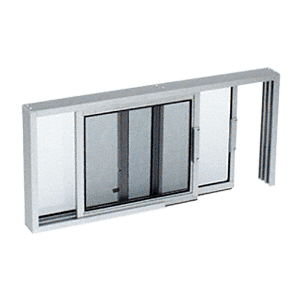 "CRL SW2014A Satin Anodized Horizontal Sliding Service Window XO or OX Format with 1/4"" Glass Only with Screen"