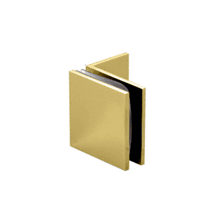 Polished Brass Fixed Panel Square Clamp With Small Leg