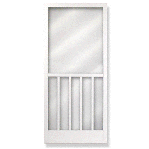 "Columbia Verona White 32"" x 80"" Vinyl Hinged Screen Door"