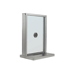 "CRL N1EW18A Satin Anodized Aluminum Narrow Inset Frame Exterior Glazed Exchange Window With 18"" Shelf and Deal Tray"