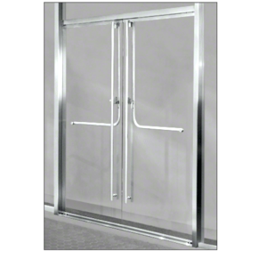 "Polished Stainless 1301 Entry Door 1/2"" Glass w/Overhead Closer - Entry With Panic"