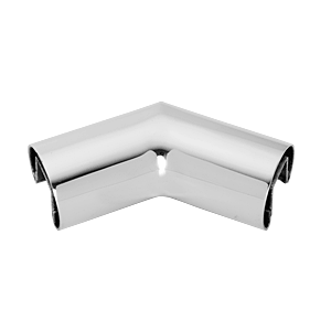 "Polished Stainless 2"" Diameter 135 Degree Horizontal Corner for 1/2"" or 5/8"" Glass Cap Railing"