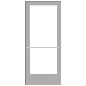CRL-U.S. Aluminum CD42711R136 Clear Anodized 400 Series Medium Stile Inactive Leaf of Pair 3'0 x 7'0 Center Hung for OHCC w/Standard Push Bars Complete ADA Door(s) with Lock Indicator, Cyl Guard