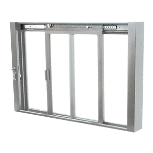 CRL SCDW1802A Satin Anodized Self-Closing Deluxe Sliding Service Windows with Aluminum Full Bottom Track