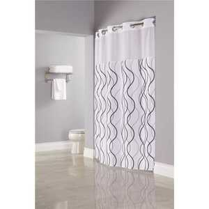 Hookless HBH49WAV01SL77 Waves 77 in. Shower Curtain with Sheer Window and Snap Liner - pack of 12