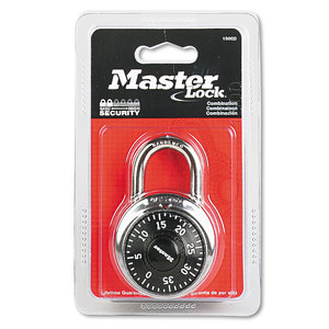 """Master Lock Company MLK1500D Combination Lock, Stainless Steel, 1 7/8"""" Wide, Black Dial"""