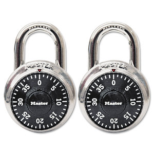 """Master Lock Company MLK1500T Combination Lock, Stainless Steel, 1 7/8"""" Wide, Black Dial, 2/Pack"""