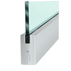"""CRL DR4SBS38C Brushed Stainless 3/8"""" Glass 4"""" Square Door Rail Without Lock - Custom Length"""