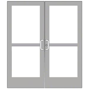 CRL-U.S. Aluminum CZ42711 Clear Anodized Custom Pair Series 400 Medium Stile Center Pivot Entrance Doors With Panics for Overhead Concealed Door Closers