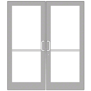 Clear Anodized Custom Pair Series 400 Medium Stile Geared Hinge Entrance Doors for Overhead Concealed Door Closers