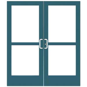 CRL-U.S. Aluminum CZ42771 Custom KYNAR Paint Custom Pair Series 400 Medium Stile Center Pivot Entrance Doors With Panics for Overhead Concealed Door Closers