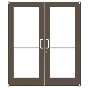 Bronze Black Anodized Custom Pair Series 550 Wide Stile Offset Pivot Entrance Door for Overhead Concealed Door Closers