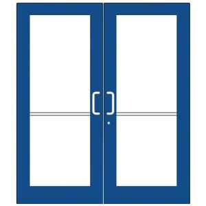 Custom KYNAR Paint Custom Pair Series 550 Wide Stile Geared Hinge Entrance Doors for Overhead Concealed Door Closers
