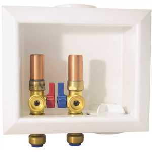 Tectite FSBBOXWMWH 1/2 in. Brass Washing Machine Outlet Box with Water Hammer Arrestors