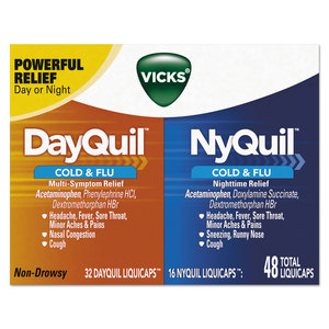 Procter & Gamble PGC01452 DayQuil/NyQuil Cold & Flu LiquiCaps Combo Pack, 32 Day/16 Night, 12/Carton