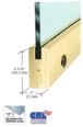 """CRL-USALUM ALUM-DR4SPB38CL-VCP-1 Polished Brass 4"""" Square Door Rail With Lock for 3/8"""" Glass - Custom Length"""