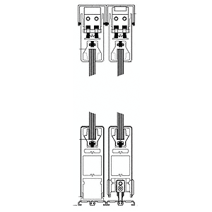 "CRL 6SDR4FBL Black Powder Coated OXXO Format Sliding Door Entrance System - 4"" Square Top 6"" Square Bottom Rail"