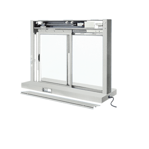 CRL EDW1804A Satin Anodized Custom Size All Electric Fully Automatic Deluxe Sliding Service Window XO or OX With Stainless Steel Shelf