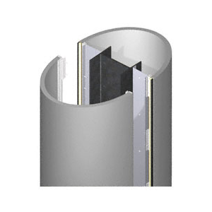 CRL ECE45CNDS Custom Non-Directional Stainless Standard Series Elliptical Column Covers Four Panels Staggered