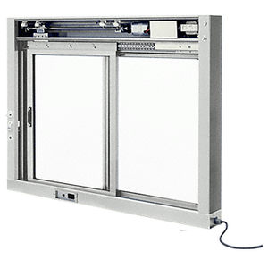 Satin Anodized Custom Size All Electric Fully Automatic Deluxe Sliding Service Window XO or OX With Stainless Steel Sill