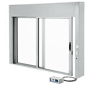 """CRL EDW48300XA Satin Anodized 48"""" x 30"""" All Electric Fully Automatic Deluxe Sliding Service Window OX (Clerk Side) No Bottom Track"""