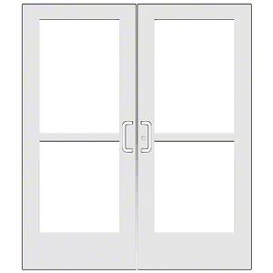 CRL-U.S. Aluminum CZ52752 White KYNAR Paint Custom Pair Series 550 Wide Stile Center Pivot Entrance Doors With Panics for Overhead Concealed Door Closers
