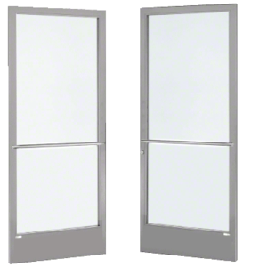 Clear Anodized Custom Pair Series 250 Narrow Stile Center Pivot Entrance Doors for Overhead Concealed Door Closers