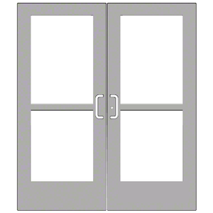 CRL-U.S. Aluminum CZ52711 Clear Anodized Custom Pair Series 550 Wide Stile Center Pivot Entrance Doors With Panics for Overhead Concealed Door Closers