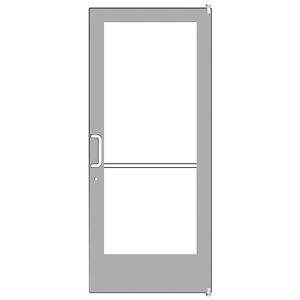Clear Anodized Custom Single Series 400 Medium Stile Offset Pivot Entrance Door for Surface Mount Door Closer