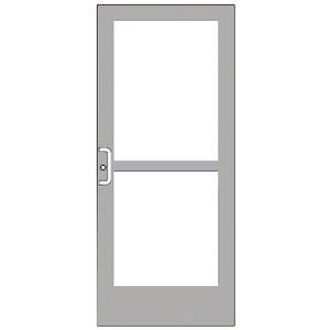 Clear Anodized Custom Single Series 400 Medium Stile Geared Hinge Entrance Door With Rim Device for Surface Mount Door Closer