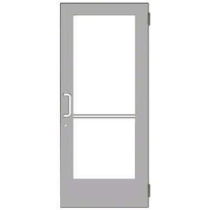 Clear Anodized Custom Size Single Series 550 Wide Stile Butt Hinge Entrance Door for Overhead Concealed Door Closer
